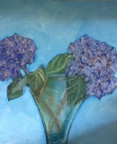 Hydrangeas, Pastels & Oils on canvas board