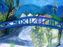 Blue Bridge in Quillan, Mixed media on paper, SOLD.