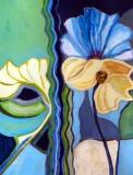 Fantasy Flowers, Mixed media on Paper, framed
